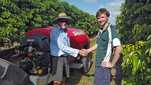 Martin Joyce receiving his new Silvan Supaflo sprayer
