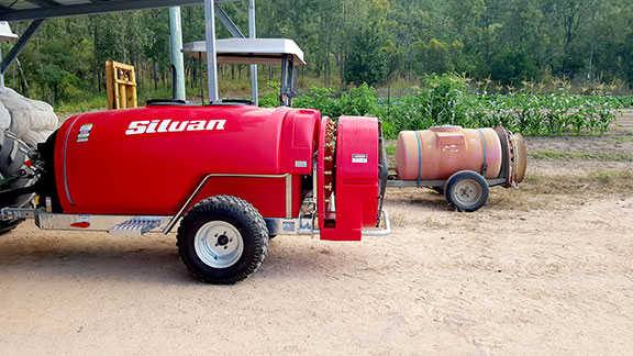 The Supflo sprayer next to the old Suntuff sprayer