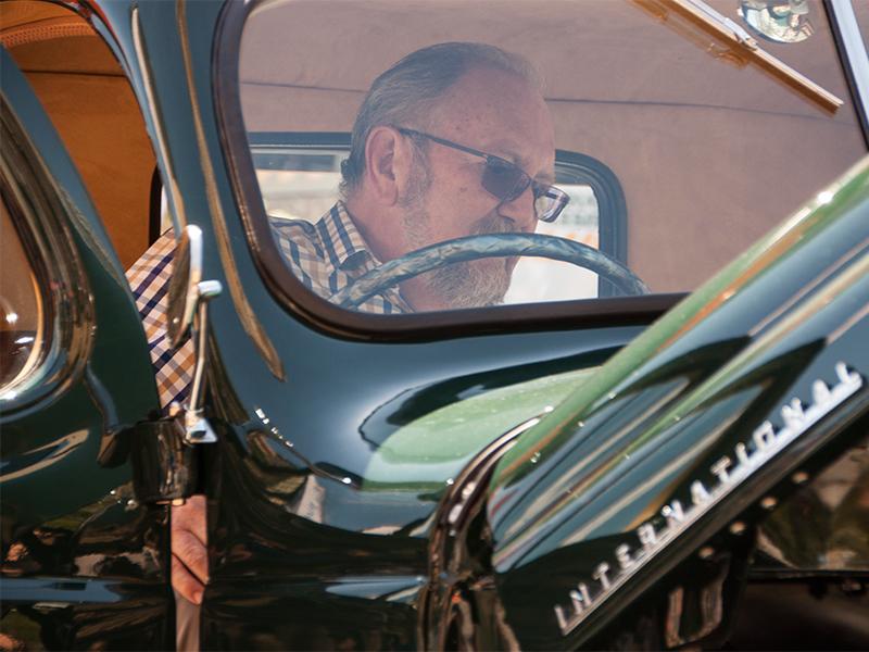 Winner Trevor Fry admiring the immaculate interior of his new International K5