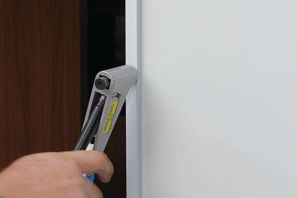 Rivets -fitted -in -place -for -the -caravan -door