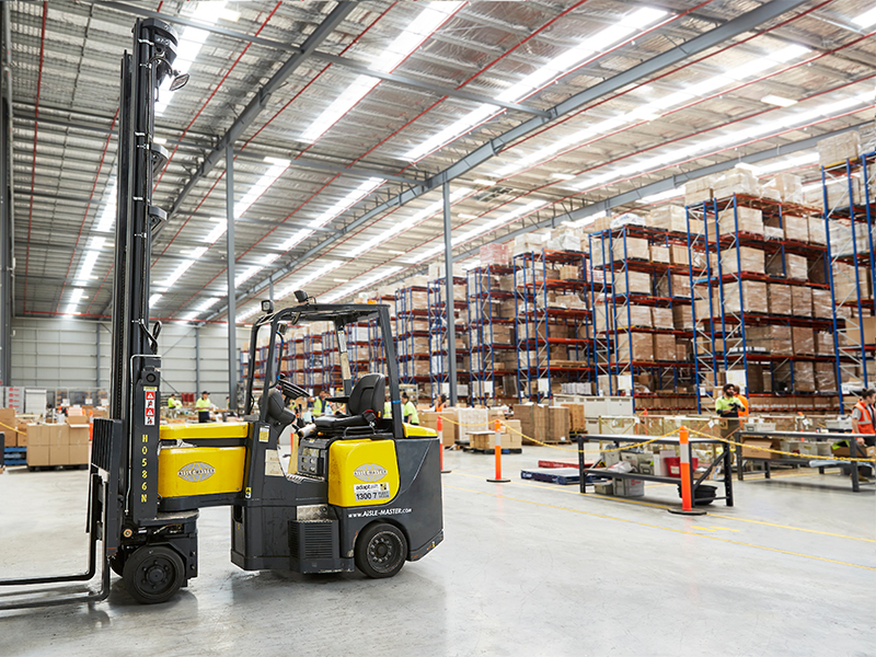 Adaptalift Hyster Aisle-master forklifts are used in narrow aisles which maximise storage capacity