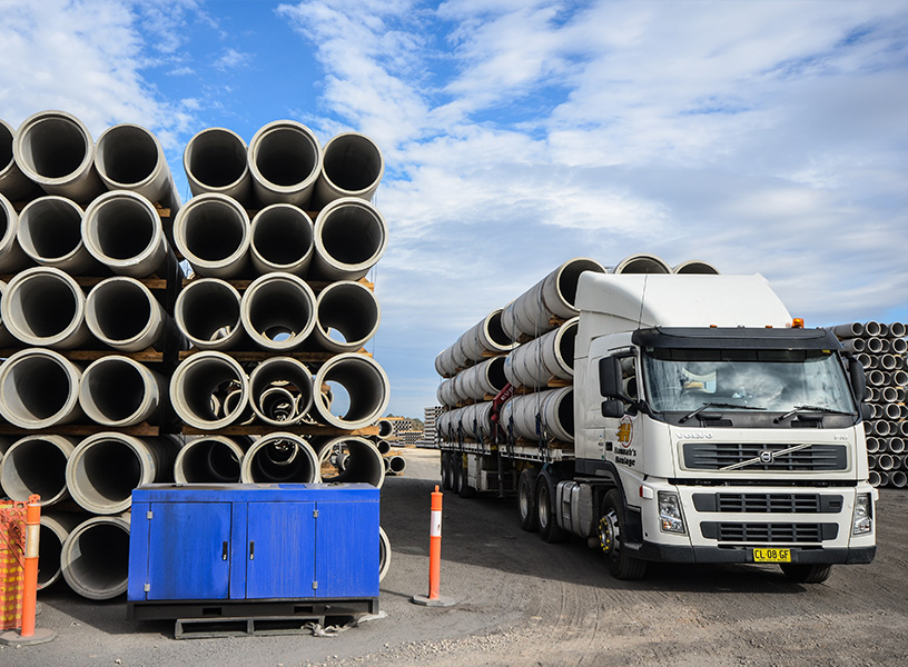 Pipes dominate the construction yard in Riverstone