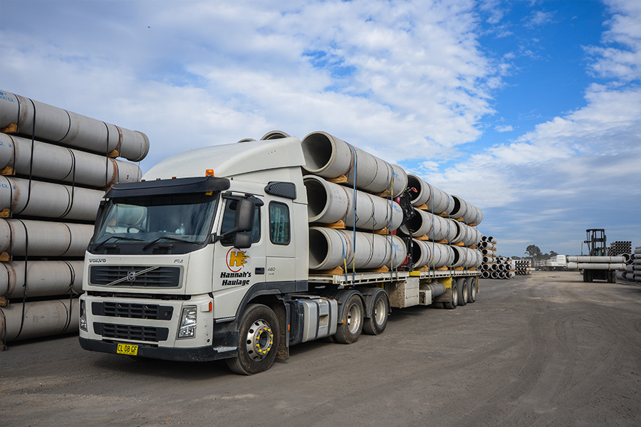 Construction transport makes up around 20 per cent of Hannah's Haulage's business