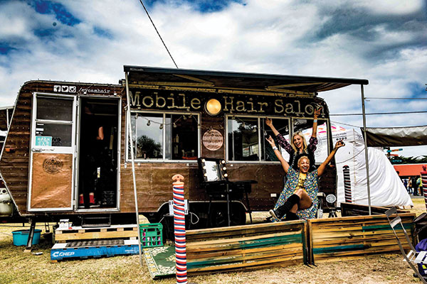 Queenscliff -Music -Festival -mobile -hair -salon -in -a -caravan