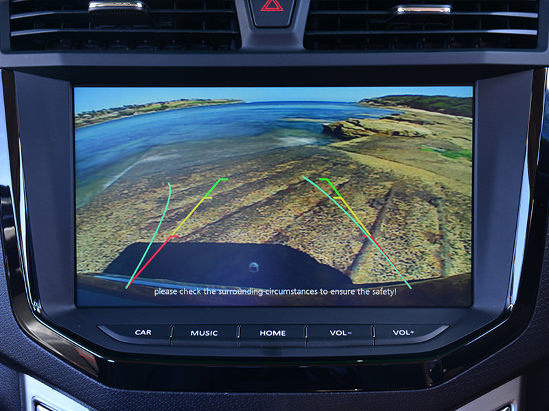 A reverse camera is standard equipment across the range