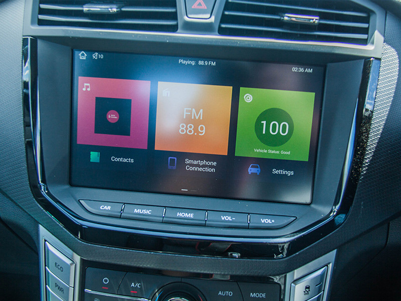 The 10-inch touch screen infotainment system features Apple car play and Android connectivity