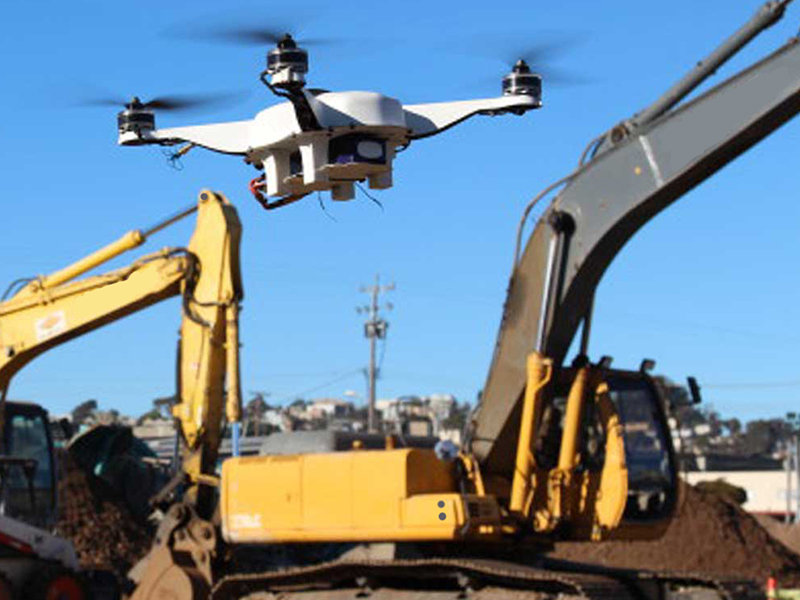 Drone on construction worksite