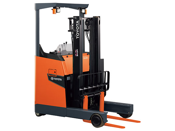 Toyota's new 8FBR battery electric reach truck.