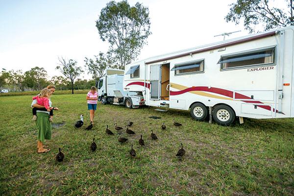 People -feeding -ducks -next -to -a -caravan