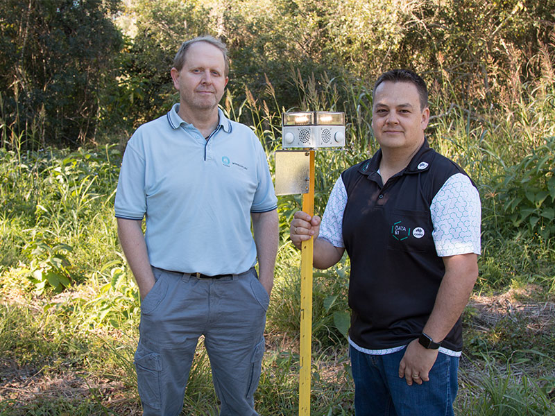CSIRO researchers Dr Ash Tews and Dr Philip Valencia with a VPDaD node