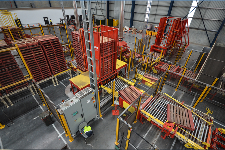 AMS automated stackers distribute pallets one at a time to the sorter