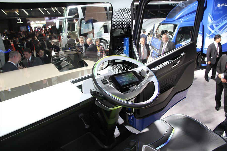Visionary. On the inside of Fuso's Vision One. The technology is remarkable, even down to mirror screens mounted on the inside.