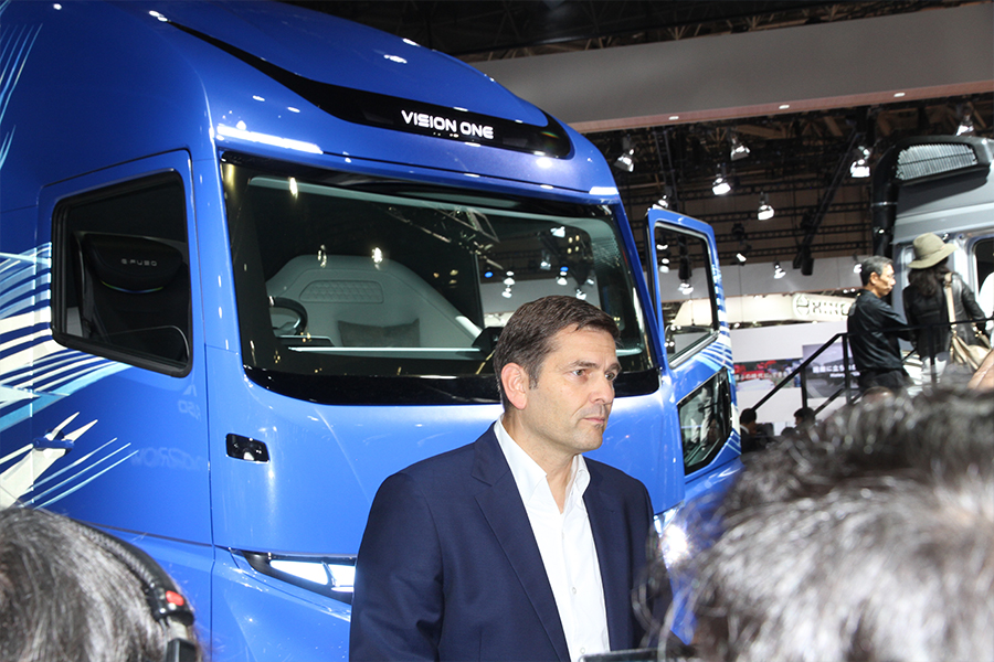 True believer. Daimler Trucks Asia supremo Marc Llistosella fronts international media at the launch of E-Fuso and Vision One.