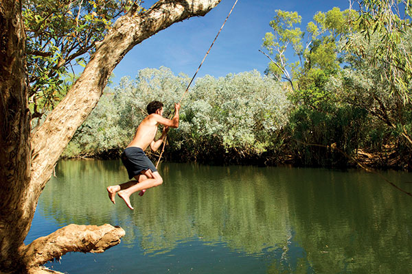 Man -on -a -rope -swing