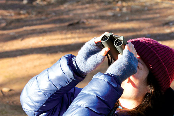 Woman -using -binoculars