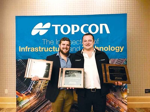 Sam -Rye -(left )-and -Louie -Schutte -from -Synergy -Positioning -Systems -at -Topcon -Xperience -2017