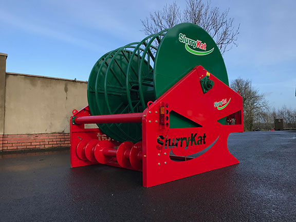 The SLurryKat hose reel side on