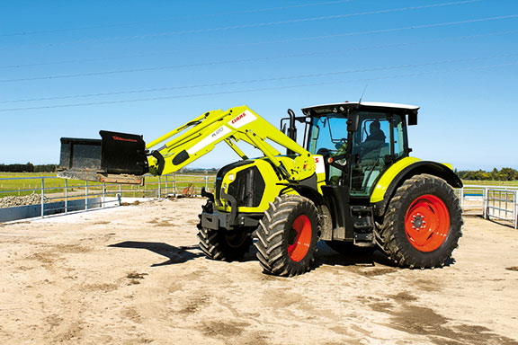 the Claas Arion 620 CIS tractor front on