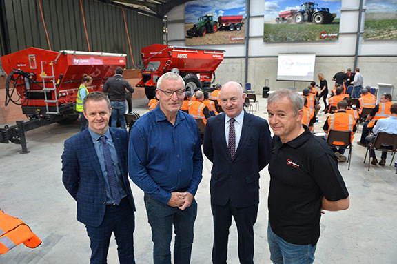 Local Enterprise official John Magee, Agri-Spread founder Mark Murphy, Mayo County Council chief executive Peter Hynes and Agri-Spread general manager Alan Rattigan