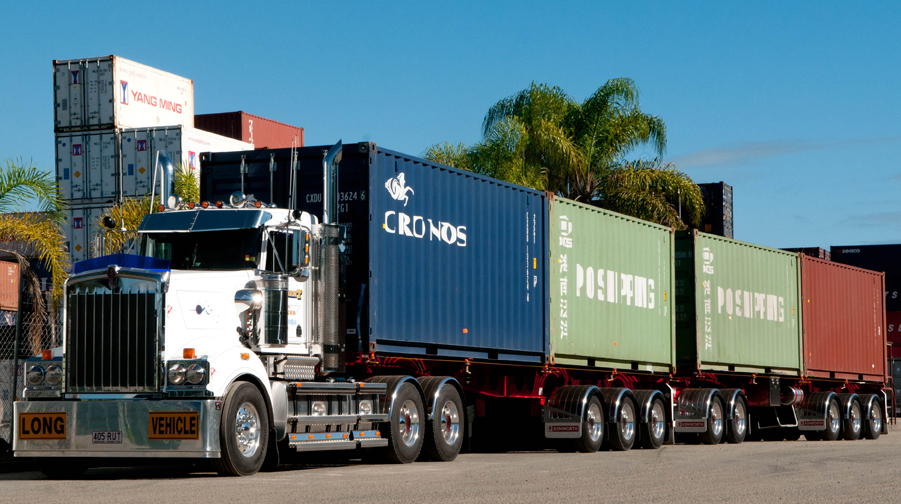 An a-double, capable of carrying 4 containers compared to a 26-metre b-double which carries 3