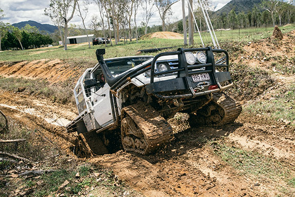 The Mattrack fitted Toyota Landcruiser taking on a hill
