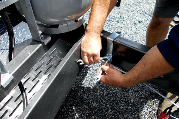 Affix -brakets -to -the -A-frame -for -caravan -stoneguard
