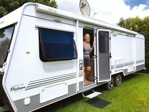 The -nine -metre -Leisureline -Platinum -caravan -is -towed -by -a -Ford -Ranger