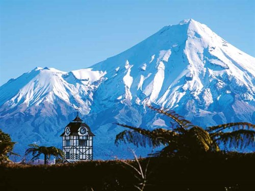 The -Glockenspiel -Clock -Tower -and -Mount -Mt -Taranaki -as -seen -from -Stratfrod ---Credit -Rob -Tucker