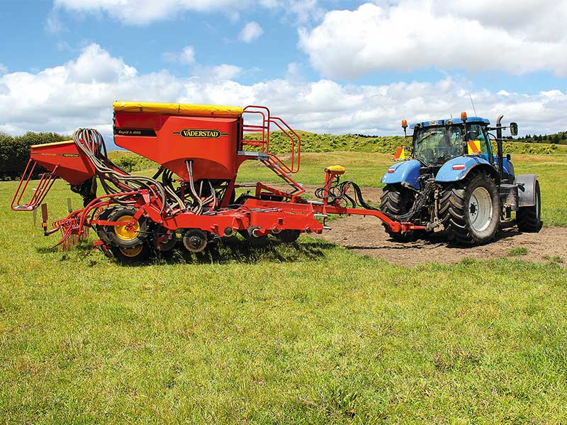 The Väderstad Rapid 400S 4m air seeder behind a tractor