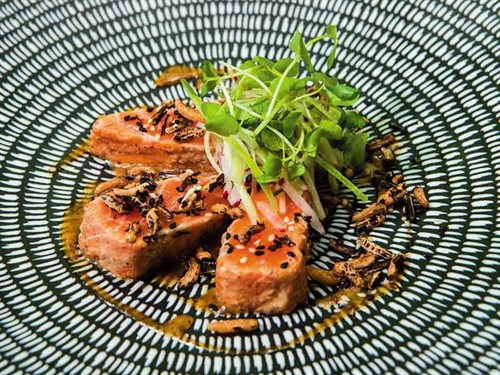 Marinated -salmon ,-black -rice ,-cucumber ,-radish ,-soy -and -mustard-