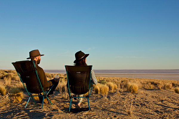 People -sitting -in -camping -chairs -at -Halligan -Bay -Point
