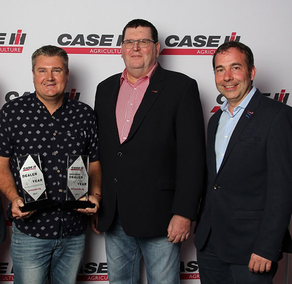 Larwoods Ag Services dealer principal Scott Mercer, left, with Bruce Healy, brand leader for Case IH Australia/New Zealand, and Matthieu Sejournie, brand leader Case IH Asia Pacific.