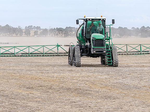 Goldacres self propelled sprayer during thedemo drive