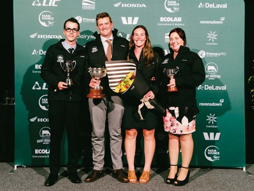 2018-Manawatu -DIA-All -winners -L-R-DTOTY-Samuel -White ,-SFOTY-Richard -and -Wendy -Ridd ,-DMOTY-Angela -Strawbridge