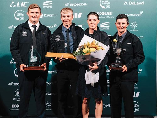 2018-Taranaki -DIA-all -winners -L-R-DTOTY-Andrew -Trolove ,-SFOTY-Owen -Clegg -and -Hollie -Wham ,-DMOTY-James -Holgate