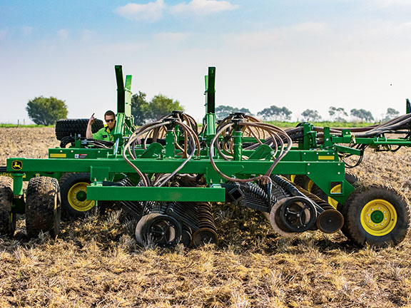 Interest in disc seeders like this one has increased over the past decade but tine seeders remain dominant in Australia