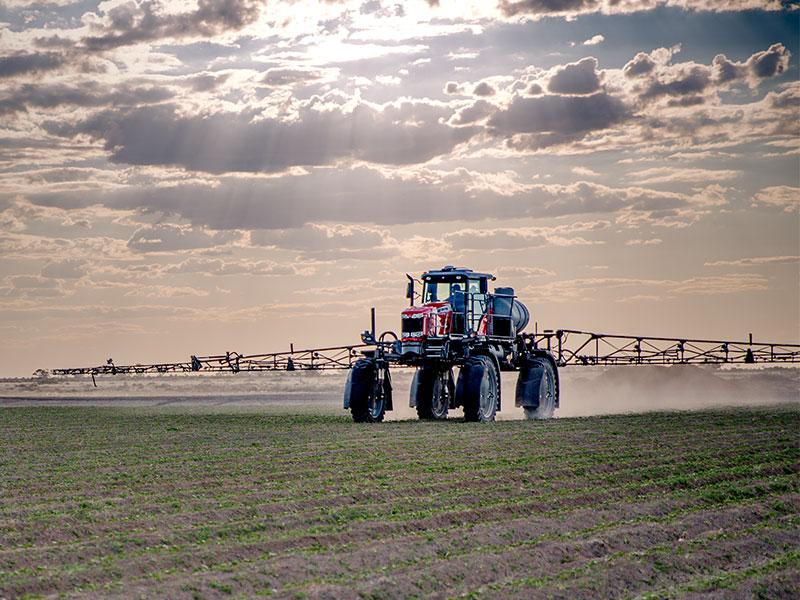 Massey Ferguson 9130 self propelled sprayer working in a field