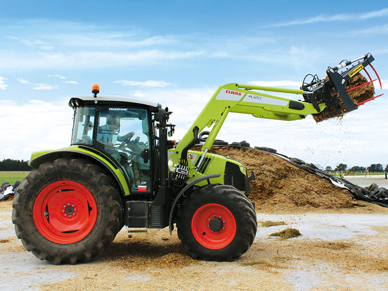 The New Claas Arion 460 with a front end loader attached