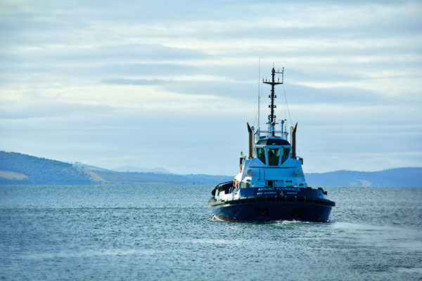 Tug -boat -heading -out -to -guide -a -ship -under -the -Tasman -bridge