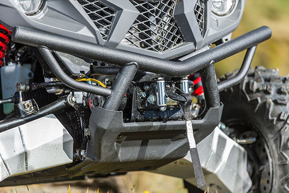 The Yamaha Wolverine X4's front winch close up