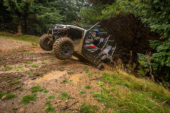 The Yamaha Wolverine X4 taking on a steep incline