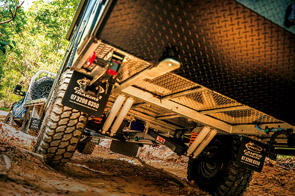 Towing -camper -trailer -offroad -in -the -mud