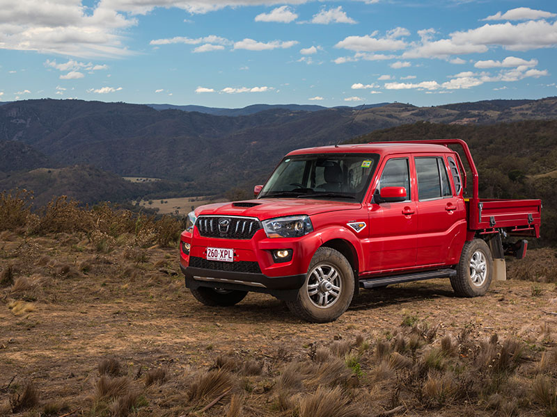 The Mahindra Pik-Up dual cab 4x4 front on