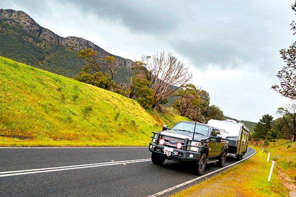 Towing -Kokoda -caravan -on -the -road