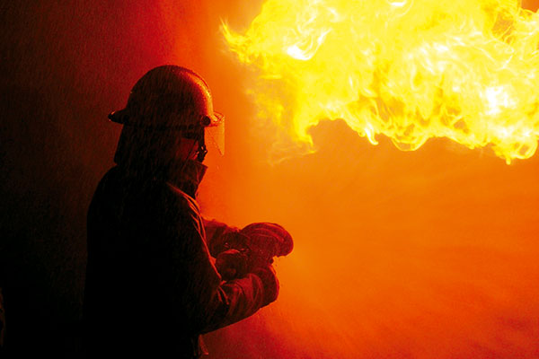 Firefighter -putting -out -a -fire