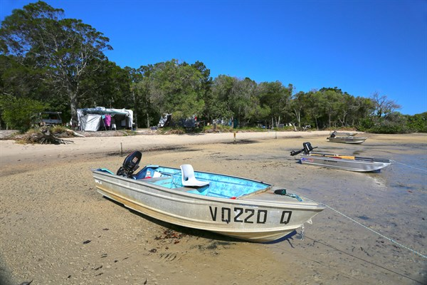 06_Tinnies Moored Along The Shore Of Pelican Bay Near The Camping Area At Inskip Point