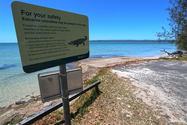 Copy Of 21_A Sign At Tinnanbar Boat Ramp Warns That Crocs May Be Present In These Waters