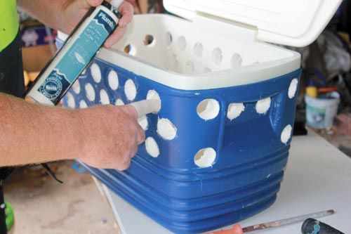 Sealing the drilled holes with silicone