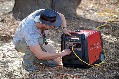 Switching The Honda Generator On