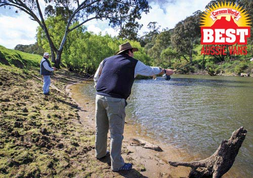 Fishing for trout at Lake Eildon